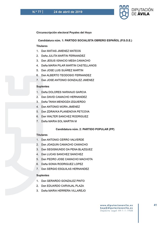 Elecciones Municipales 2019 - Poyales del Hoyo - BOPA 24-04-2019 - TiétarTeVe