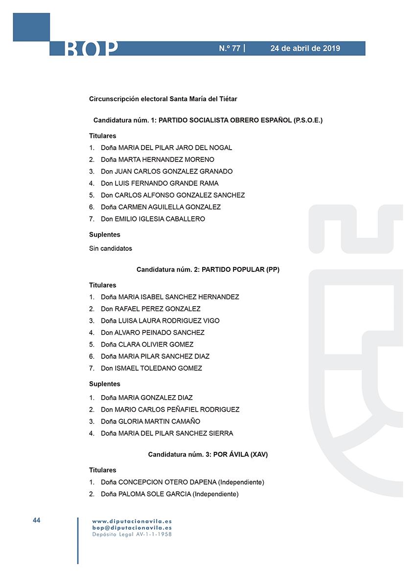 Elecciones Municipales 2019 - Santa María del Tiétar - BOPA 24-04-2019 - TiétarTeVe