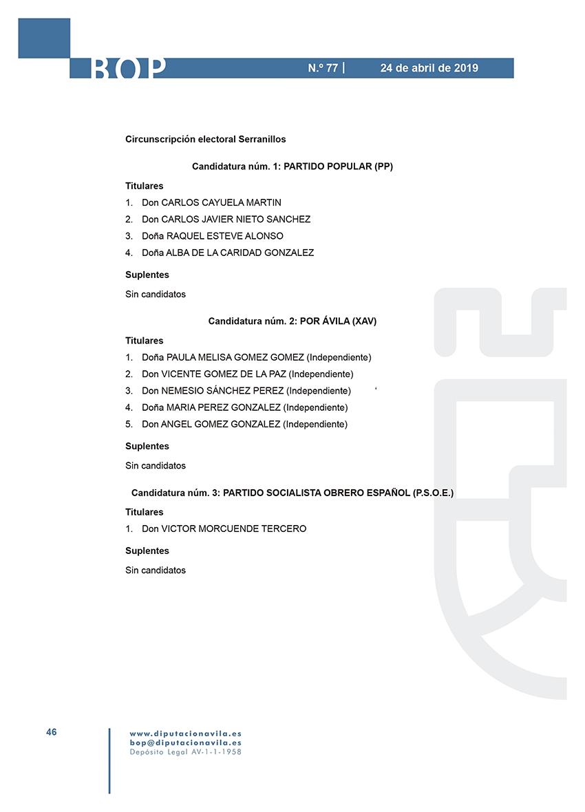 Elecciones Municipales 2019 - Serranillos - BOPA 24-04-2019 - TiétarTeVe