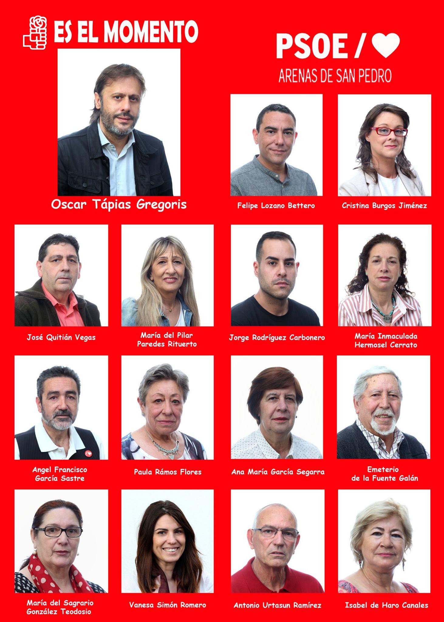 Candidatura del PSOE al Ayuntamiento de Arenas de San Pedro - TiétarTeVe