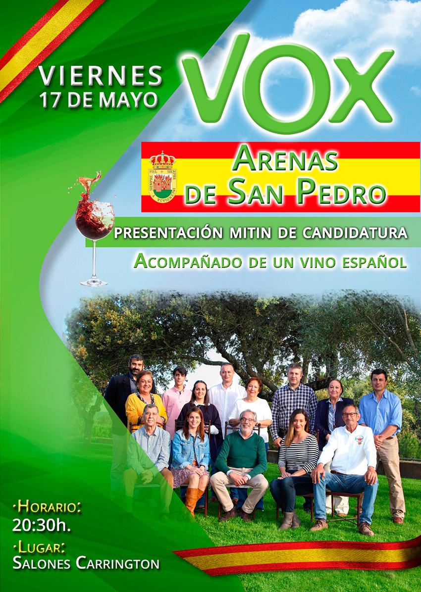 Presentación candidatura de VOX al Ayuntamiento de Arenas de San Pedro 2019 - TiétarTeVe