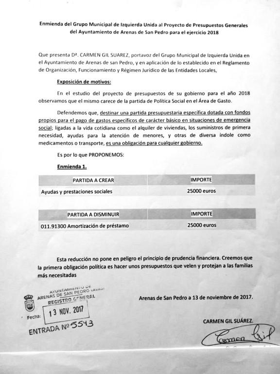 Enmienda IU Arenas de San Pedro - TiétarTeVe
