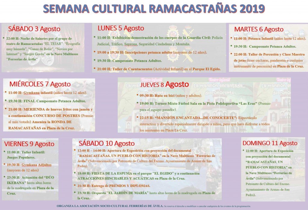 Semana Cultural 2019 en Ramacastañas - TiétarTeVe