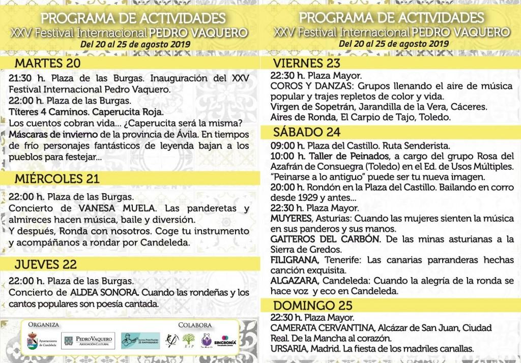 Programa del XV Festival Internacional Pedro Vaquero - Candeleda - TiétarTeVe