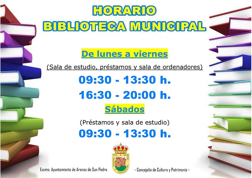 Horario 2020 Biblioteca Segundo Duran de Arenas de San Pedro - TiétarTeVe