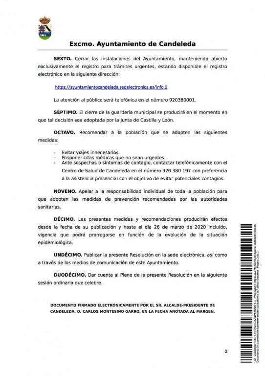 Medidas Coronavirus Ayuntamiento de Candeleda - TiétarTeVe