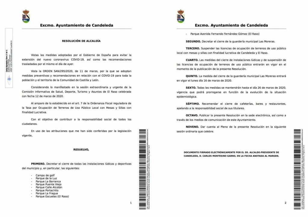 Cierre Parques Candeleda Coronavirus - TiétarTeVe