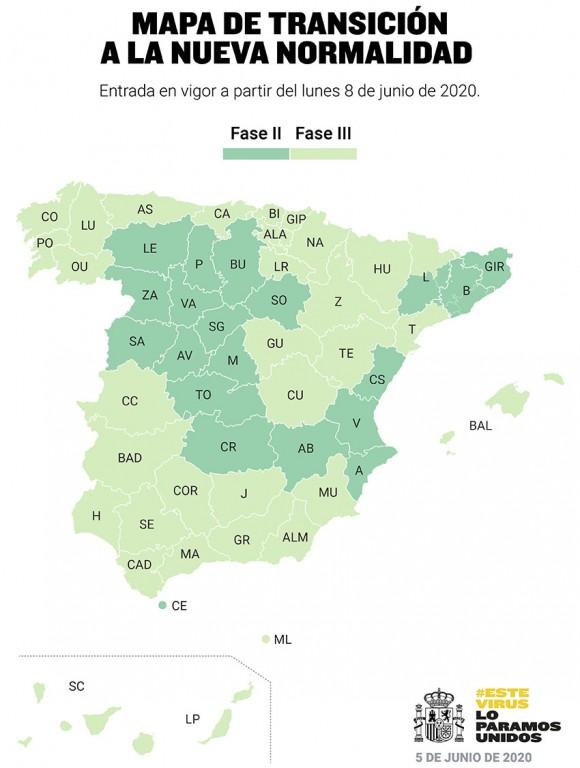 Mapa de transición a la nueva normalidad a partir del 8 de junio de 2020 - TiétarTeVe