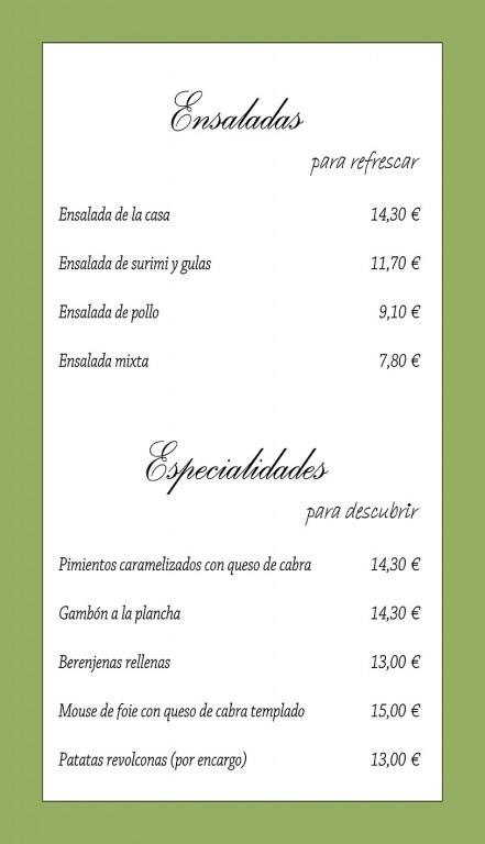 Carta Restaurante Tu Verás - Arenas de San Pedro - TiétarTeVe