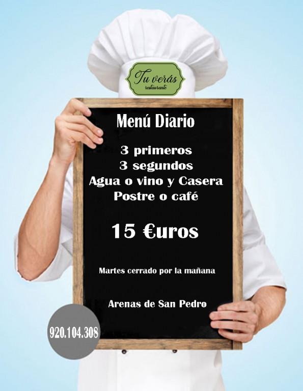 Menu agosto Restaurante Tu Verás - Arenas de San Pedro - TiétarTeVe