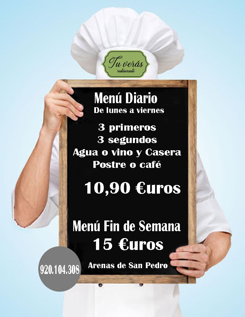 Menú Restaurante Tu Verás - Arenas de San Pedro - TiétarTeVe