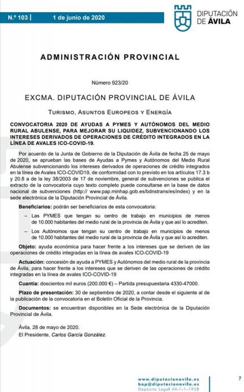Subvención Diputación Ávila Pymes y Autónomos - TiétarTeVe