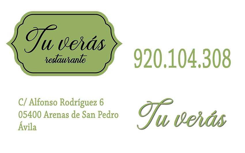 Tarjeta Restaurante Tu Verás - TiétarTeVe