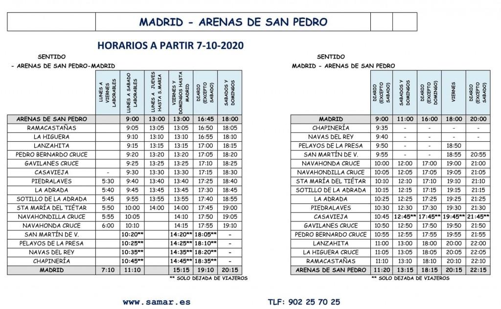 2020-10-07 Horario Bus Arenas-Madrid - TiétarTeVe