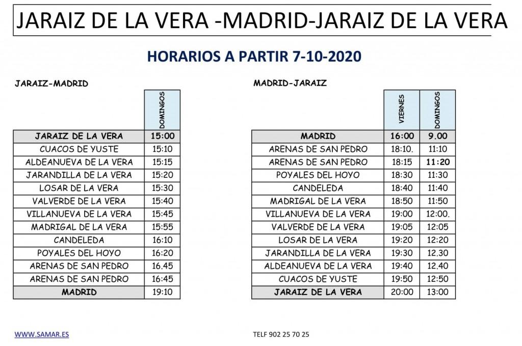 2020-10-07 Horario Bus Jaraiz-Madrid-Jaraiz - TiétarTeVe