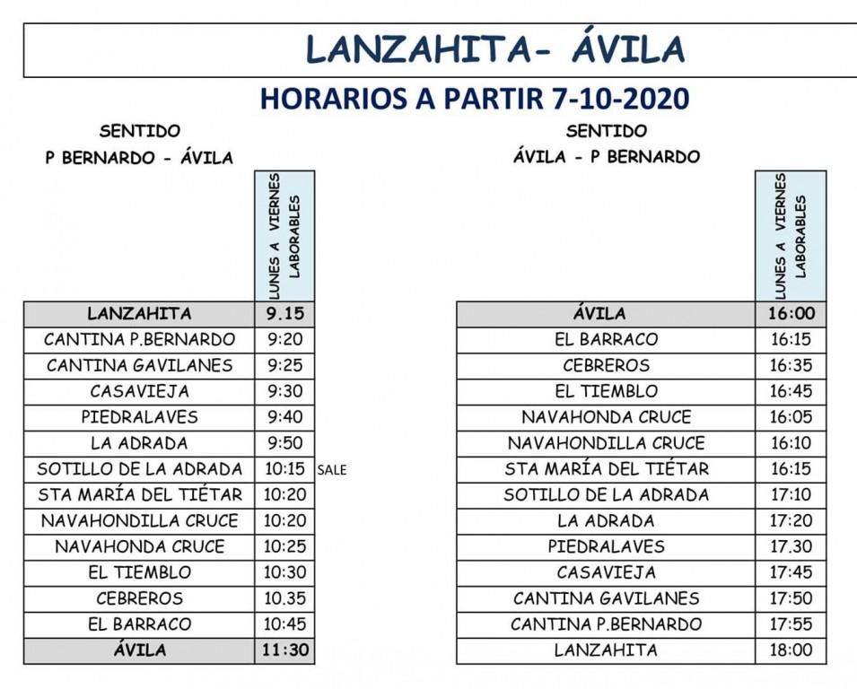 2020-10-07 Horario Bus Lanzahíta - TiétarTeVe
