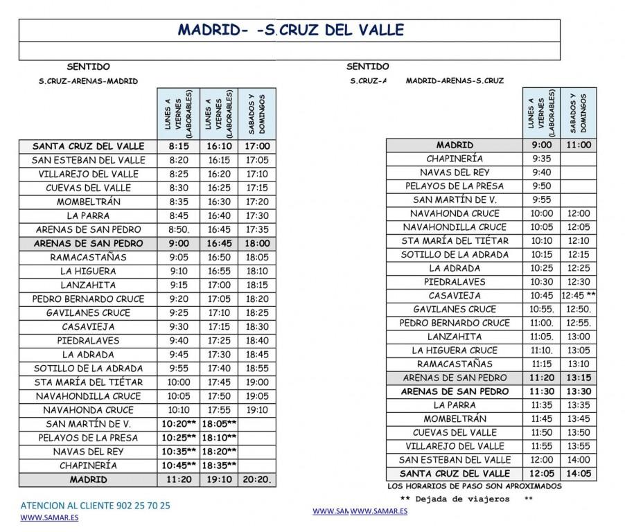 2020-10-07 Horario Bus Madrid-SantaCruz - TiétarTeVe