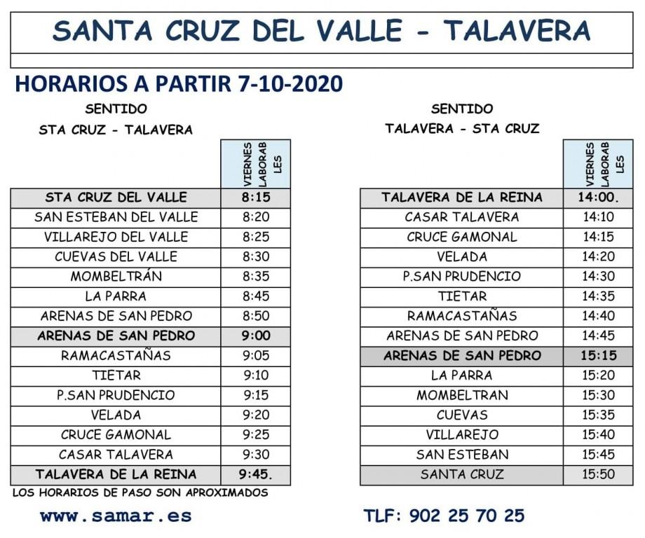2020-10-07 Horario bus SantaCruz-Talavera - TiétarTeVe