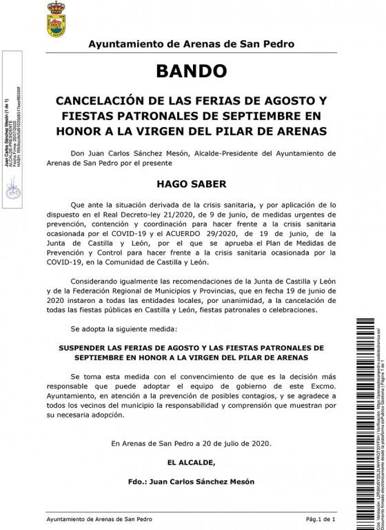 Cancelación Fiestas ArenasDeSanPedro - TiétarTeVe
