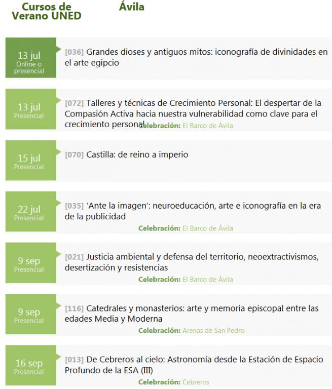 Cursos de Verano 2020 UNED - Ávila - TiétarTeVe