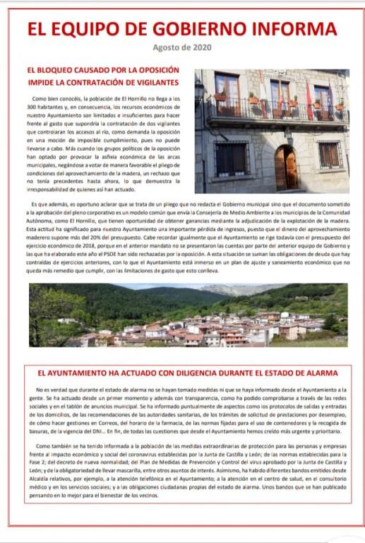 Comunicado del Ayuntamiento de El Hornillo - TiétarTeVe