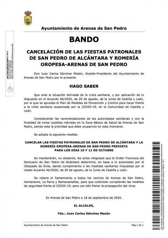 2020-10-19 Cancelación Fiestas San Pedro de Alcántara - Arenas de San Pedro - TiétarTeVe