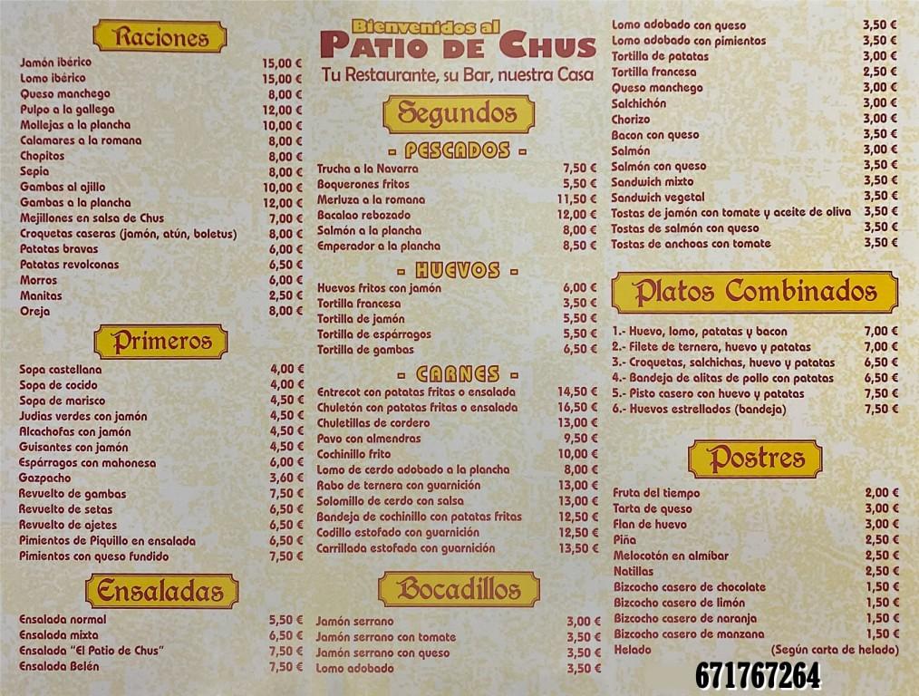 Carta El Patio de Chus - Arenas de San Pedro - TiétarTeVe