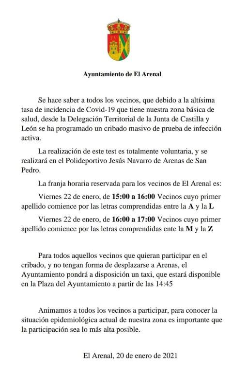 2021-01-23 Cribado Masivo El Arenal - TiétarTeVe