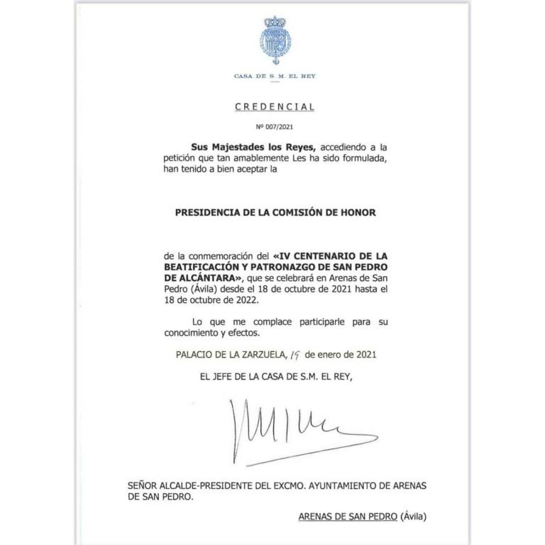 Aceptación Reyes España Patronazgo IV Centenario San Pedro de Alcántara - TiétarTeVe