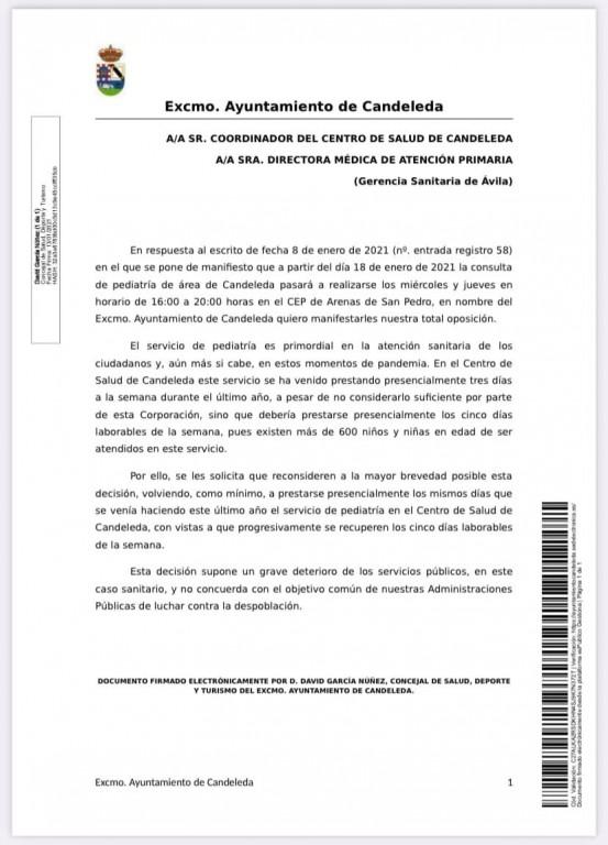 Escrito Ayuntamiento de Candeleda - cancelación Consulta de Pediatría - TiétarTeVe