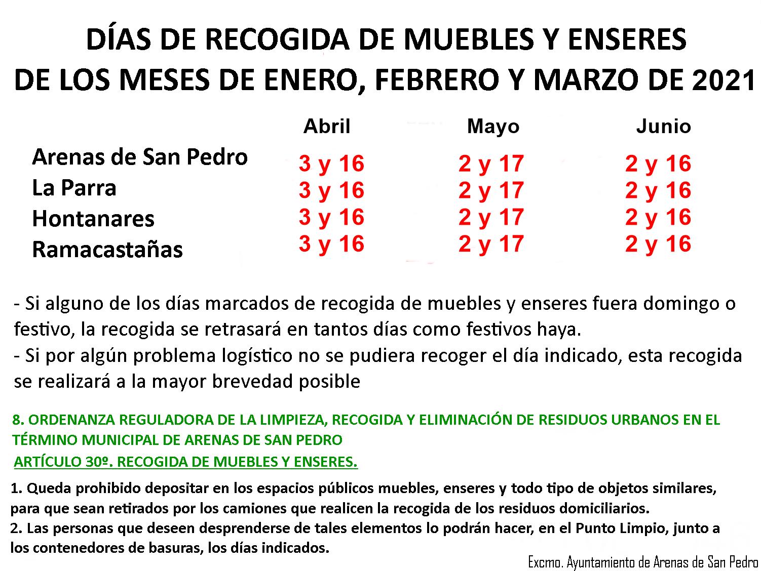 Días de recogida de enseres de abril, mayo y junio de 2021 en Arenas de San Pedro.