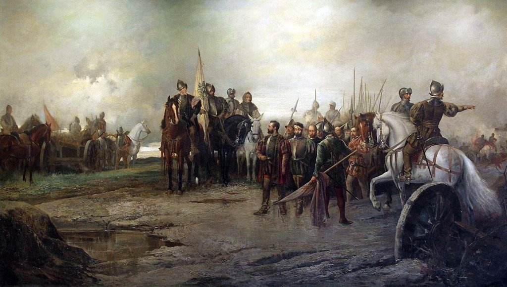 Óleo de Manuel Picolo López que muestra la rendición de los líderes comuneros (1887, Palacio del Marqués de Salamanca).