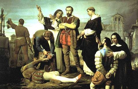 Ejecución de los comuneros de Castilla, del romántico Antonio Gisbert (1860, Palacio de las Cortes). Aplaudido por los liberales del xix, fue adquirido por el Congreso.