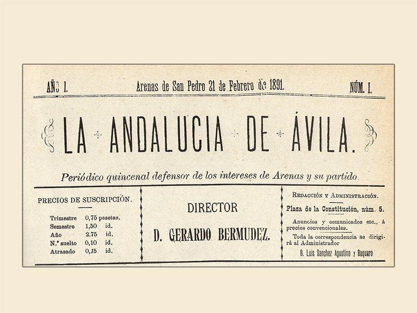 """Portada del periódico """"La Andalucía de Ávila"""", año I, número 1, del 21 de febrero de 1891"""