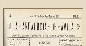 """Portada del periódico """"La Andalucía de Ávila"""", año I, número 2 del 6 de marzo de 1892."""