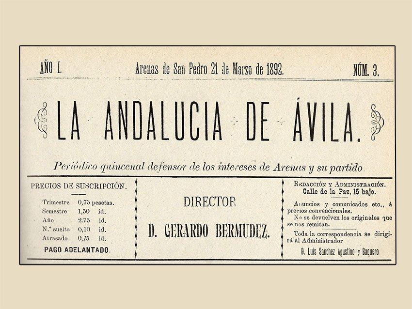 """Portada del periódico """"La Andalucía de Ávila"""", año I, número 3 del 21 de marzo de 1892."""