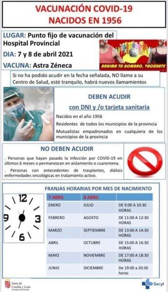 Vacunación AstraZeneca-Oxford en Ávila nacidos en 1956
