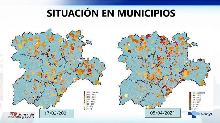 Situación Covid-19 en municipios de Castilla y León