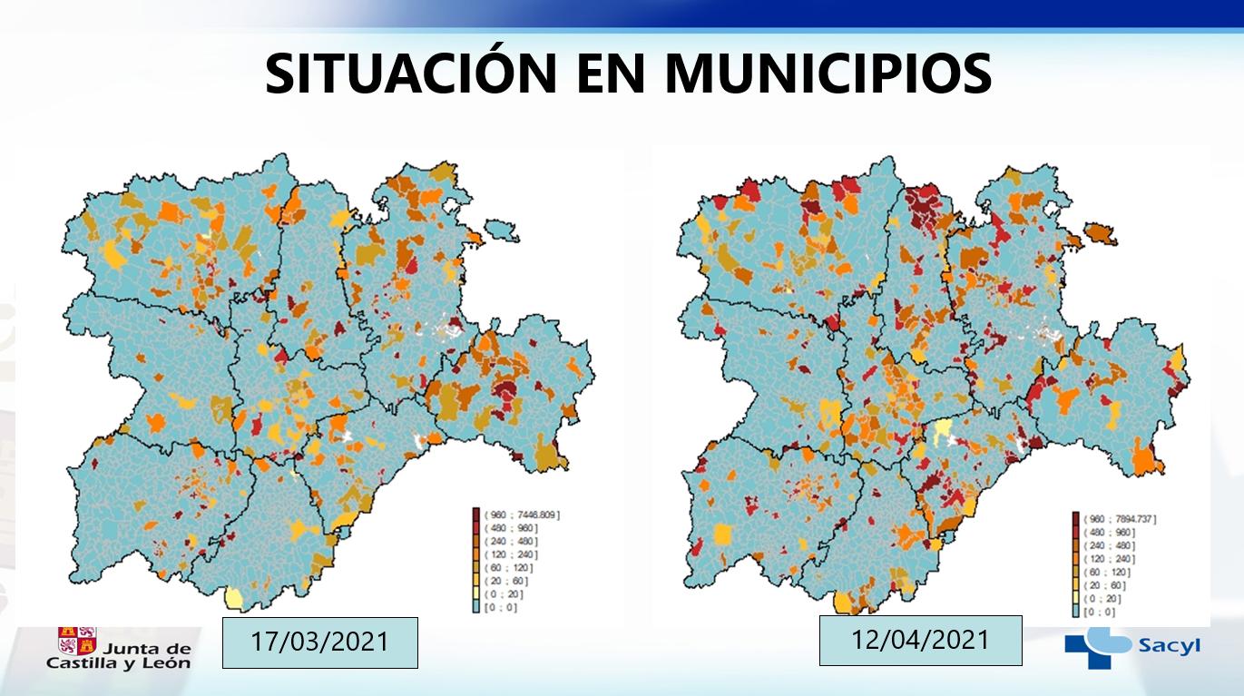 Situación en municipios de Castilla y León, comparativa a fecha 17/3 y 12/4/2021