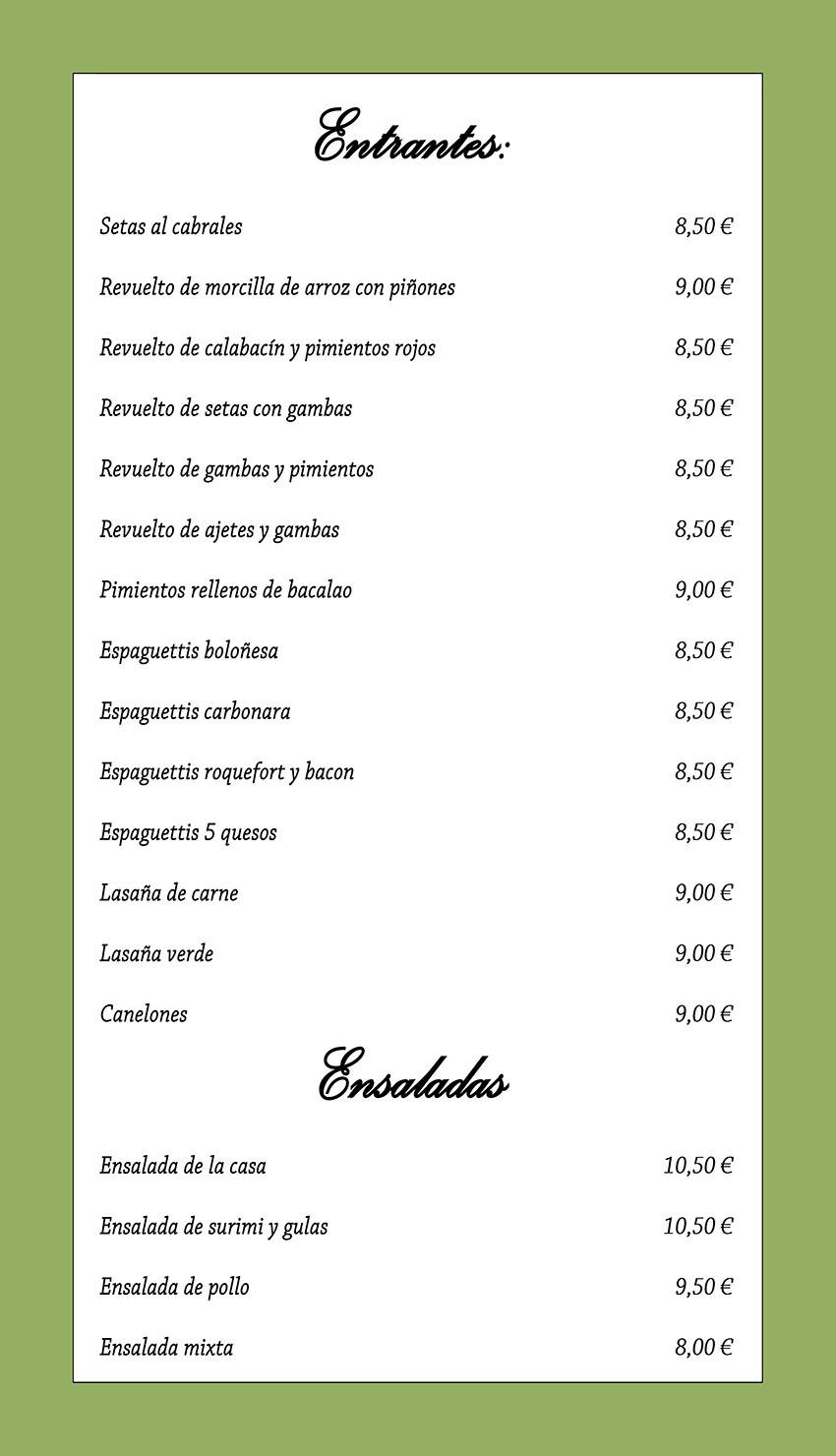 Carta del Restaurante Tu Verás - Arenas de San Pedro (Ávila)