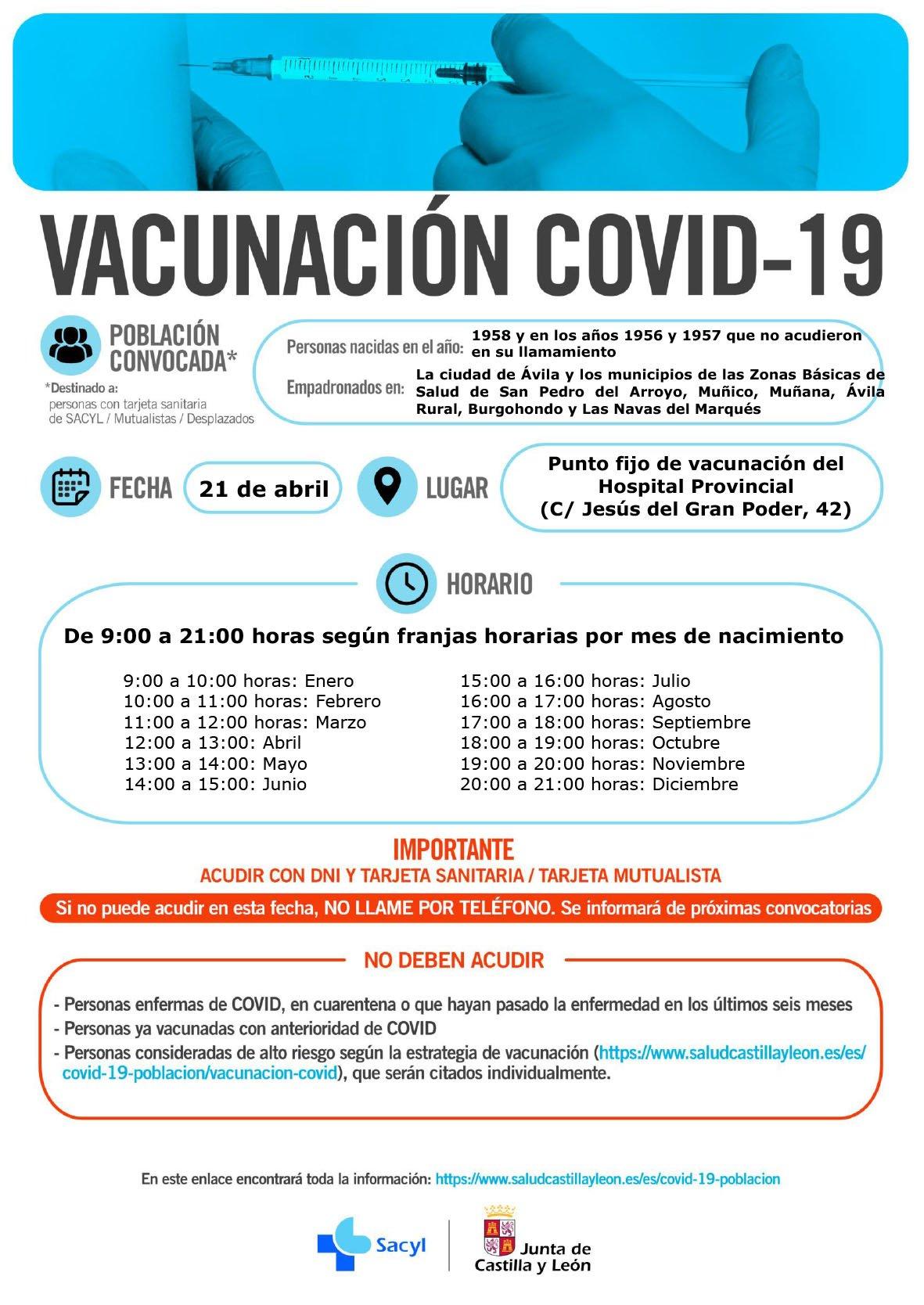 Vacunación frente a la COVID-19 con AstraZeneca-Oxford en Ávila a los nacidos en 1958