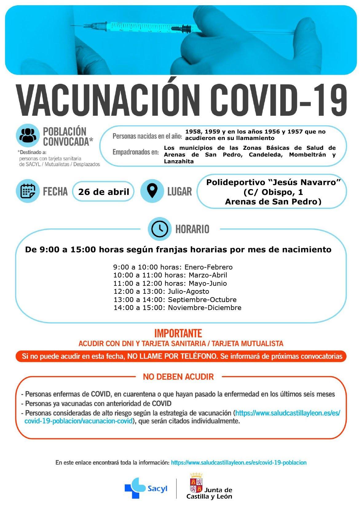 Vacunación en Arenas de San Pedro para nacidos en 1958, 1959, 1956 y 1957 el 26 de abril de 2021