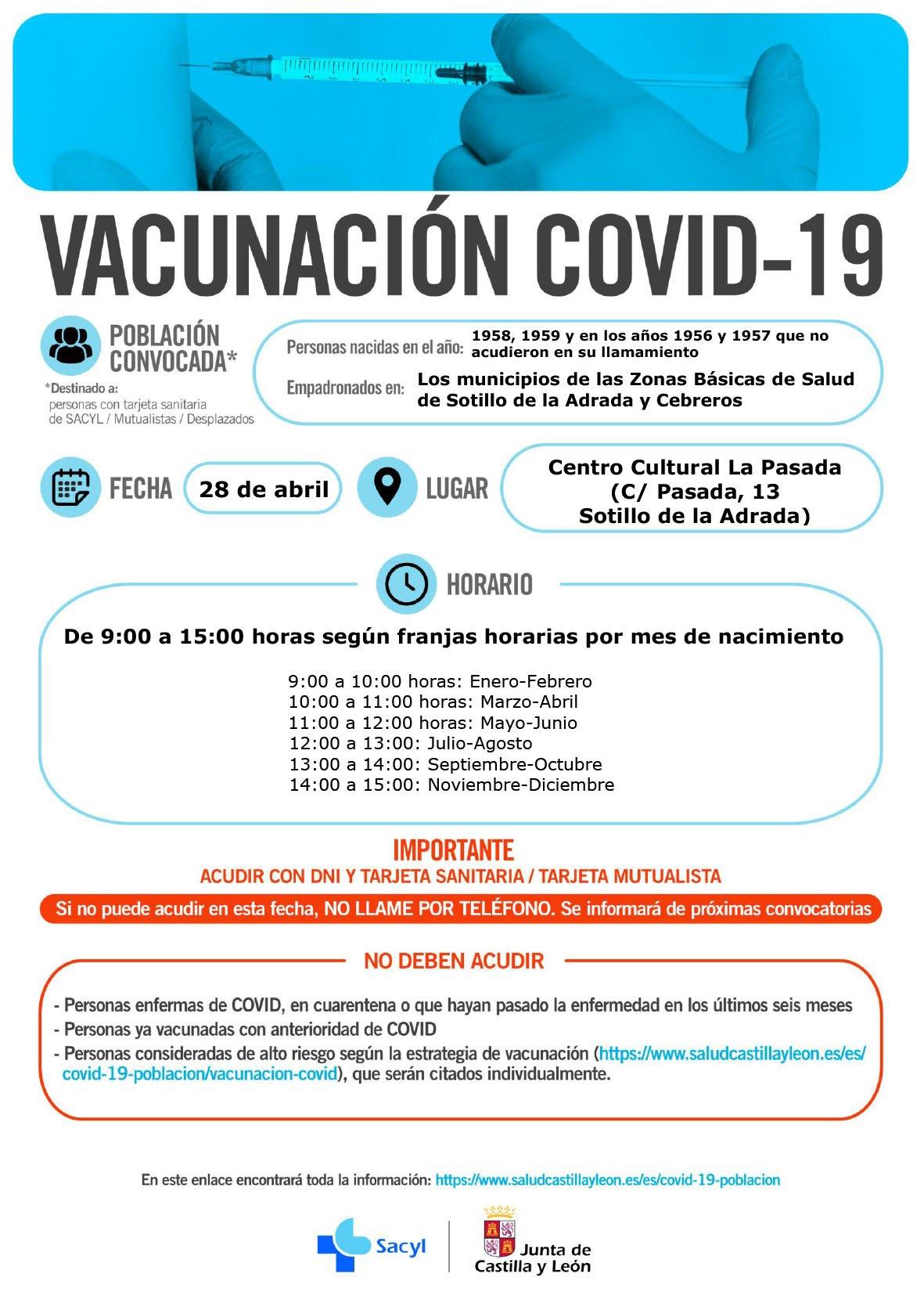 Vacunación en Sotillo de La Adrada para nacidos en 1958, 1959, 1956 y 1957 el 28 de abril de 2021