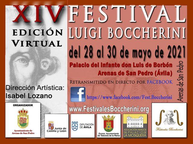 Cartel del XIV Festival Boccherini edición virtual 2021 - Arenas de San Pedro - Ávila