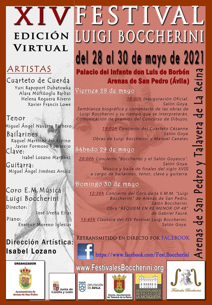 Cartel del XIV Festival Boccherini, edición virtual, de Arenas de San Pedro (Ávila)