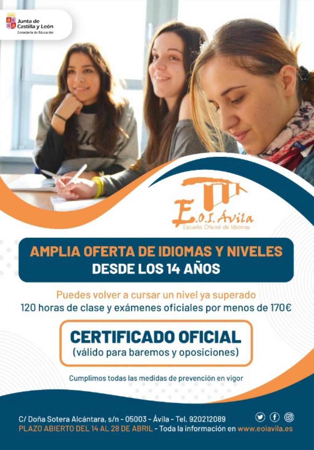 Escuela Oficial de Idiomas (EOI) - Abierto plazo inscripción curso 2021/2022.