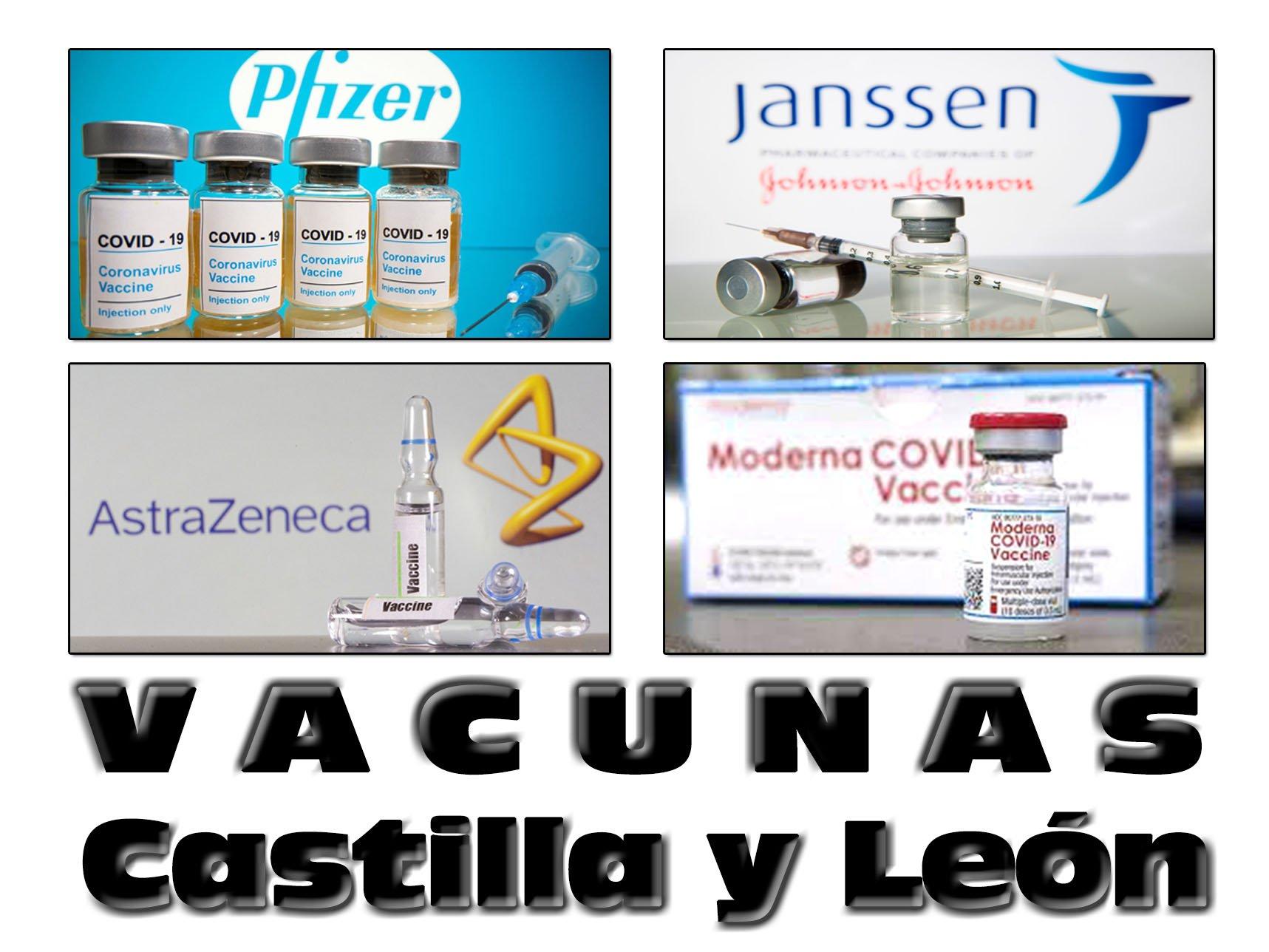 Vacunas COVID-19 recibidas en Castilla y León: Pfizer, Janssen, AstraZeneca y Moderna.