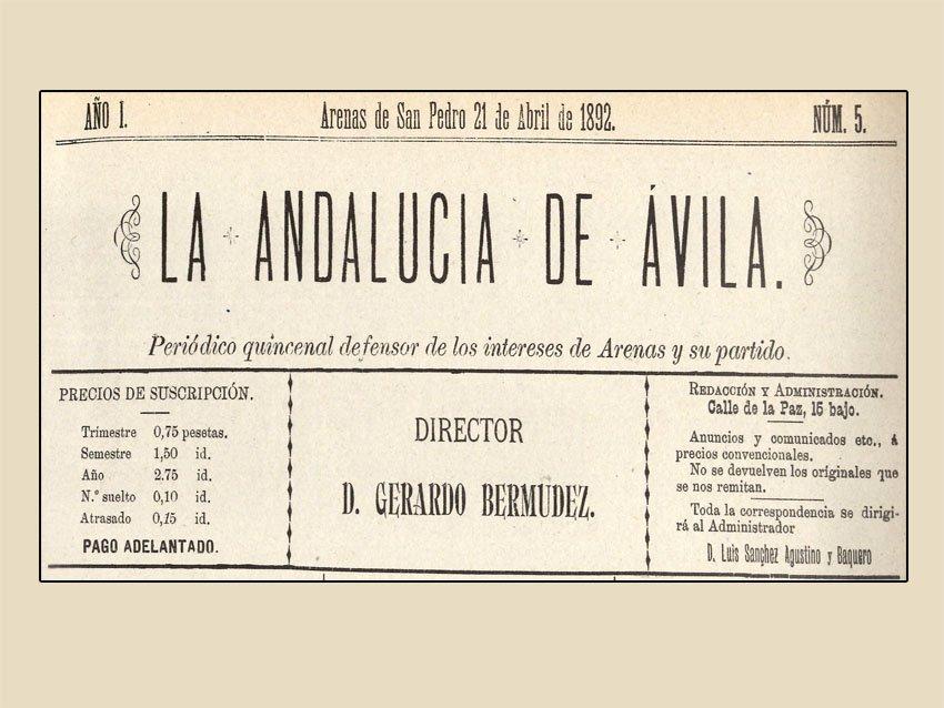 Portada del periódico quincenal «La Andalucía de Ávila». Año I número 5 del 21 de abril de 1892