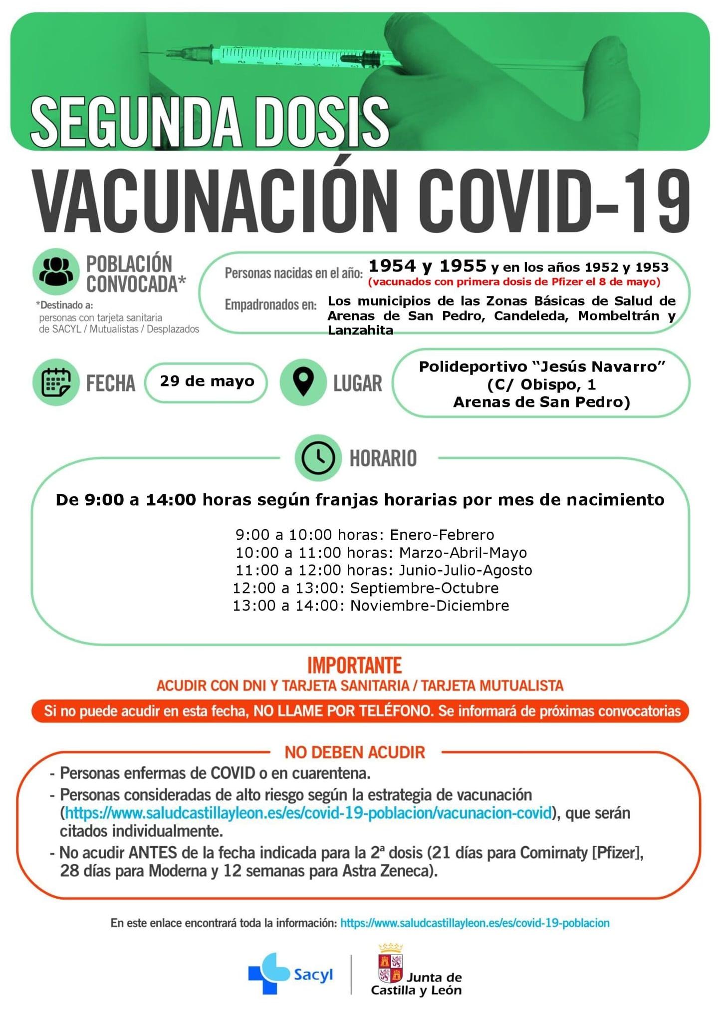 Arenas vacuna a nacidos en 1954, 1955, 1952 y 1953