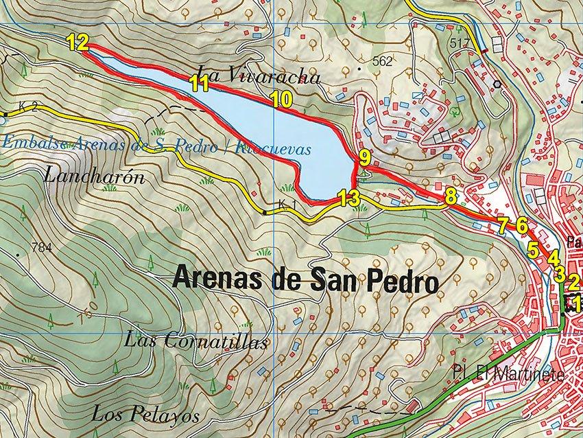 Mapa del Circuito del Pantano de Arenas de San Pedro